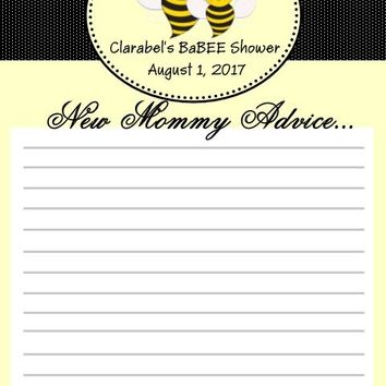 10 Bee Baby Shower Advice Keepsake Cards