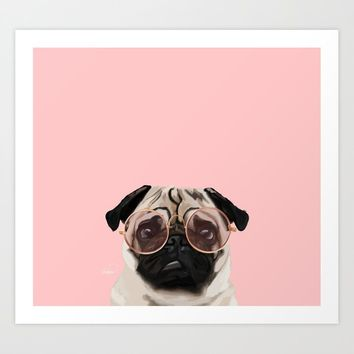 Intellectual Pug Art Print by lostanaw