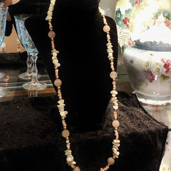 Rose Quartz Necklace Opera Length Melon Beads Hand Carved Mother of Pearl MOP Nuggets Chips Beaded Hand Strung Necklace Boho Artisan Hand