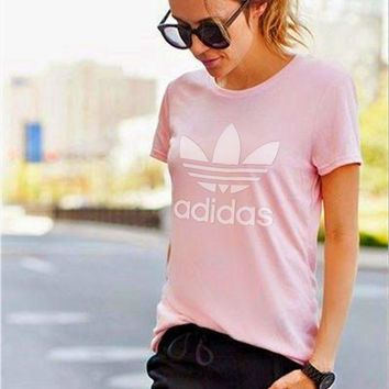 ADIDAS Fashion Ms round collar printed t-shirts with short sleeves Pink