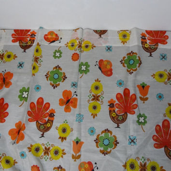 Vintage Danish Modern/Scandinavian Curtains with Roosters, Butterflies, and Floral Design - 2 Panels and 2 Valances
