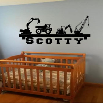 Boys room Construction personalized name shelf look inspired  kids room vinyl decals vinyl decor wall art crane dump truck