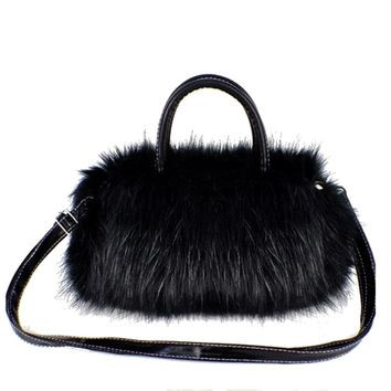 Black Fur with Black Leather Strap Shoulder / Handbag/ Purse with Zipper