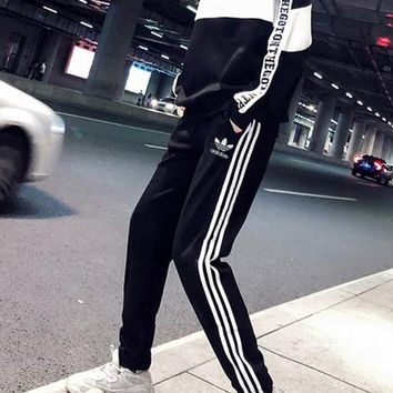 """Adidas"" Women Casual Multicolor Stripe Zip Upright Neck Long Sleeve Trousers Set Two-Piece Sportswear"