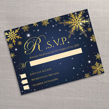 DIY Printable Wedding RSVP Template | Editable MS Word file | 5.5 x 4.25 | Instant Download | Winter Gold Snowflakes Royal Navy Blue