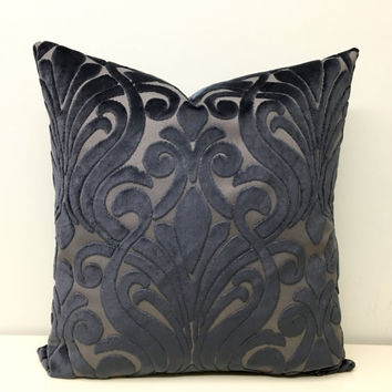 Grey Velvet Pillow Cover, Smokey Grey Pillow, Velvet Pillow, Throw Pillow, Cushion Cover, Grey Decorative Pillow, Velvet Couch Pillow Covers