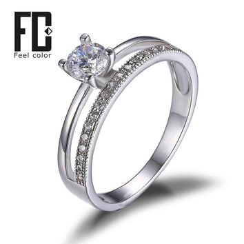 Brand Design Anniversary Engagement Wedding Band Ring Genuine 925 Sterling Silver Jewelry Exquisite Women Ring