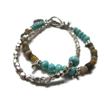 Sleeping Beauty Turquoise, Ancient Roman Glass Beads, and Sterling Silver Double Strand Bracelet ~ Peace