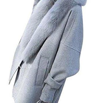 Fensajomon Womens Winter Faux Fur Collar Solid Color Thicken Wool Trench Pea Coat Overcoat