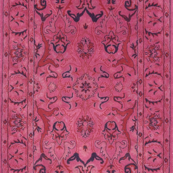 Kimberly Overdyed Style 100% Wool Area Rug in Pink design by NuLoom