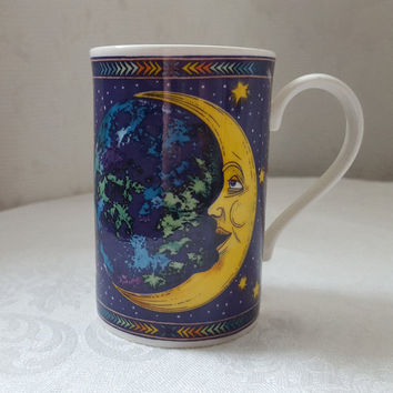 Dunoon Cosmos Mug, Celestial, Moon and Stars, Design by Jane Adderley, Stoneware, Made in Scotland, Cobalt Blue, Coffee, Tea, Sunshine, Mint
