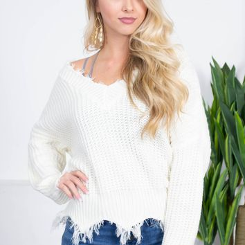 Cream Frayed Knit Sweater