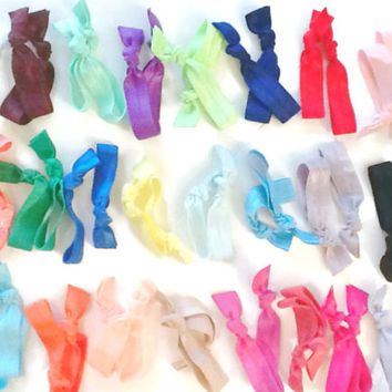50 Elastic Hair Ties - 2 of Each Color - FREE US SHIPPING - Perfect For Braids & Pigtails - Bulk Hair Bands - Hair Accessory Sets for Girls