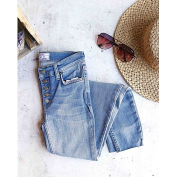 free people - reagan button front jeans - sky