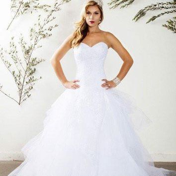 Strapless Ball gown Wedding Dress with ruffles  MT187 - CLOSEOUT