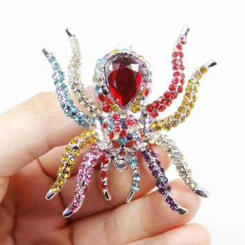 Bella Fashion Skeleton Spider Brooch Pins Rhinestone Austrian Crystal Animal Brooches For Party Jewelry