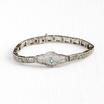 Antique 10k White Gold Simulated Aquamarine Filigree Panel Bracelet - Vintage 1920s Art Deco Blue Glass Stone Dainty Flower Fine Jewelry