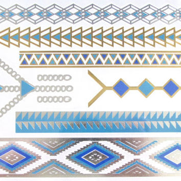 Flash Metallic Tattoo 22 | Bracelet and Necklace Temporary Tattoos