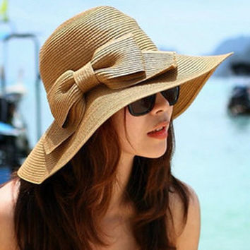 Weaving Bowknot Sun Hat
