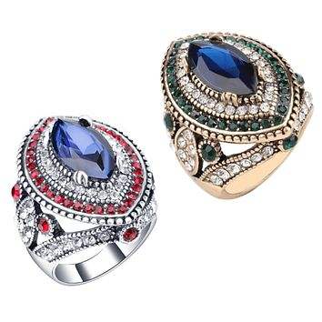 ON SALE Esmeralda Oversize Sapphire Blue and Crystal Antique Style Cocktail Ring