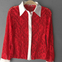 Contrast Collar Sheer Long Sleeve Lace Blouse in Red or Black