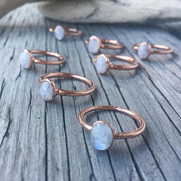 Moonstone Ring | June Birthstone | Engagement Ring | Crystal Ring | Electroformed Ring | Stone Ring | White Ring