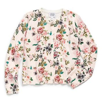 Girl's Armani Junior Floral Print Cardigan ,