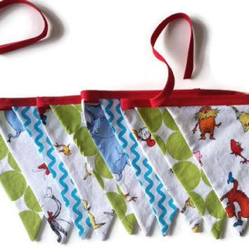 Dr.Suess Bunting, Dr.Suess Fabric Banner, Bunting Banner, Photo Prop, Birthday Party, Nursery Decor, Cat In The Hat, Thing 1, Thing 2