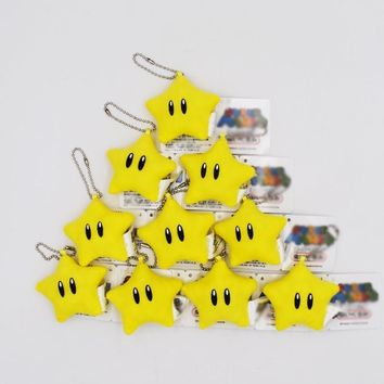 Super Mario party nes switch 10Pcs/lot  Bros 2inch Luma Mini Star Plush Toy Keychains Kawaii Kid's Present For Christmas   AT_80_8