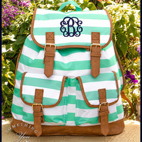 Mint Striped Personalized Campus Backpack- Monogrammed Knapsack Backpack, Rucksack, Older Girls Backpacks, Mint Green College High School