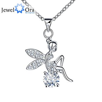 Fashion Fairy Shape Cubic Zirconia Necklaces & Pendants For Women Party Accessories Jewelry Pendant Necklace (JewelOra NE101204)