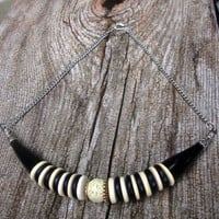 Statement Necklace , Black and White , Striped , Horn , Cinnabar , Silver , Shell , Tribal Bib