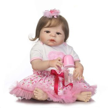 NPK Full Vinyl Reborn Baby Doll Toys Real Like Princess 23'' Lifelike Alive Reborn Dolls Fiber Hair bebe Toddler Xmas Gifts