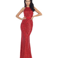 1930s Style Red Sequin Halter Sheer Back Gown