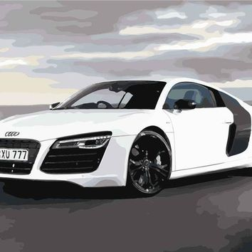 White Audi Sports Car DIY Paint Numbers Kit: Includes Acrylic Paints, Brushes and Canvas