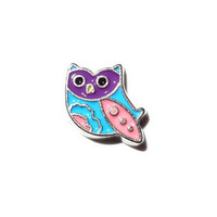 Owl with Purple Eyes Silver Floating Charm
