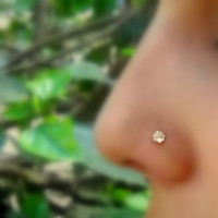 Nose Ring Stud 14K Gold Filled Handcrafted Set With A 3mm Diamond Look White Topaz Cubic Zirconia