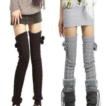 Winter Women's Leg Warmers Long Elastic Wool Crochet Knit Knee Legging Socks = 1958025732