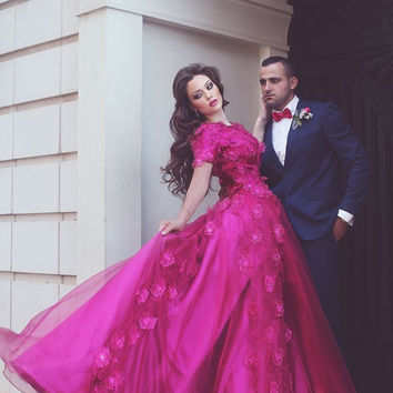 2017 Sexy Prom Dress New Arrival Fuchsia/Hot Pink Floral Appliques Cheap New Arrival Long Prom Dresses Party Dress Gown