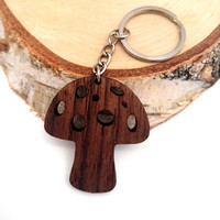 Wooden Mushroom Keychain, Red Mushroom Keychain, Fungs Keychain, Walnut Wood, Friendly Green materials