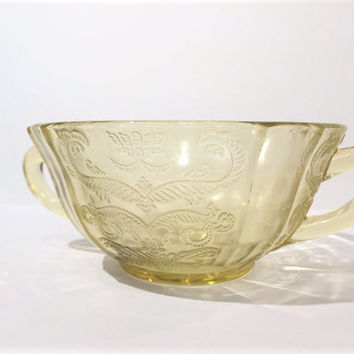 Federal Madrid Amber Glass Soup Bowl with handles