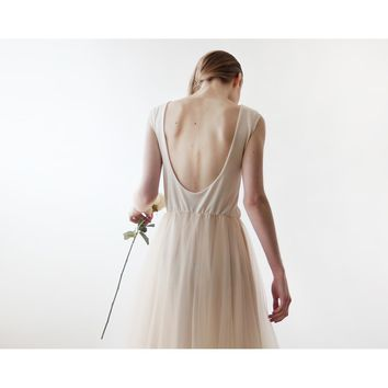 Backless, Sleeveless Maxi Tulle Dress (Ivory or Champagne) 1086