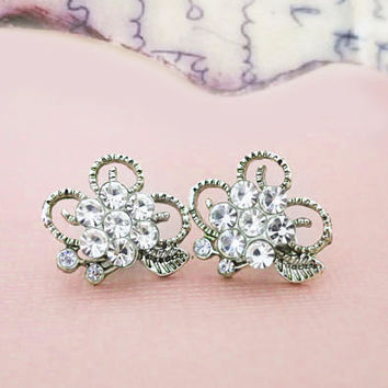 Bridesmaid Stud Earrings Flower Stud Earrings Bridal Earrings Studs Leaf Earrings Silver Filigree Wedding Studs Bridesmaid Jewelry  Gift