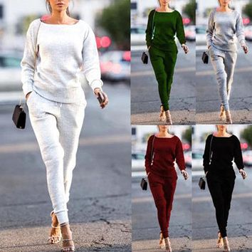 2Pcs Women's Lady Tracksuit Hoodies Pants Sets Wear Casual Suit LeisureLady Girls Long Sleeve Winter CLothes