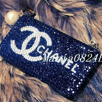 Custom Bling Black Crystals iPhone Cases CC inspired by Maria0824E