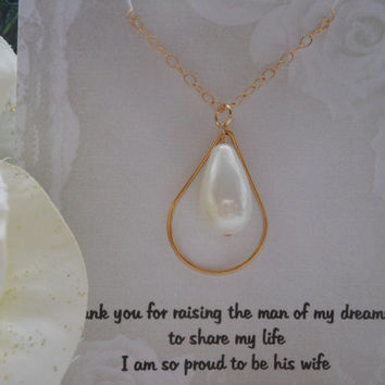 Mother of the Groom Gift, Gold Necklace, Mother in Law Gift, Teardrop Pearl, Wedding Jewelry, Gifts for Mom, Grooms Mother, Gold Jewelry