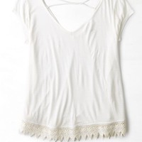 AEO Women's Cross Back Tassel Trim T-shirt (Chalk)