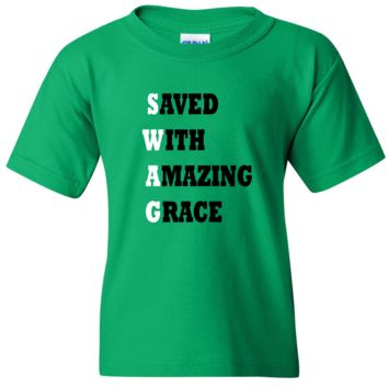 "TurnTo Designs - ""Save With Amazing Grace"" Vinyl Green T-Shirt"