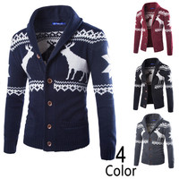 Deer Print Holiday Style Men's Cowl Cardigan