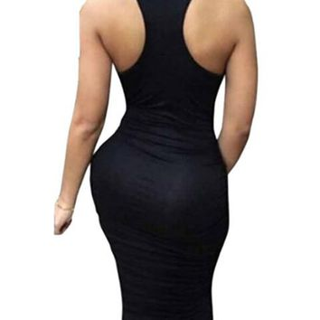 Ruched Bandage midi tank Dresses bodycon Stretch Womens Sexy Dresses Party Night Club Dress Fold 2016 Sun Dress